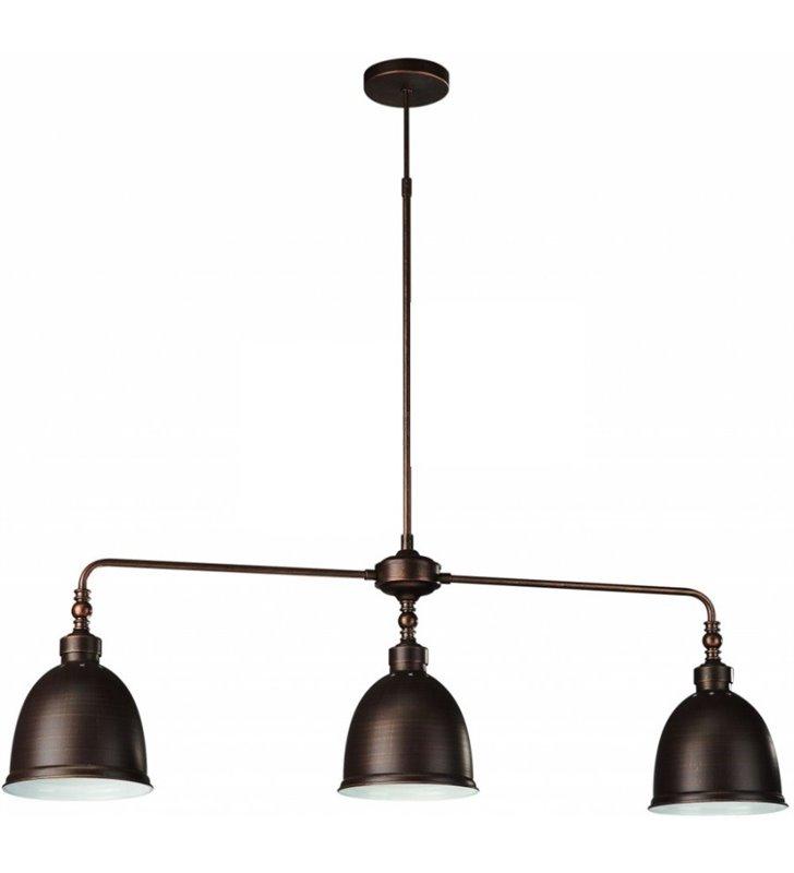 Brązowa metalowa potrójna lampa wisząca Dunlo nowoczesna styl vintage np. nad stół wyspę kuchenną - DOSTĘPNA OD RĘKI