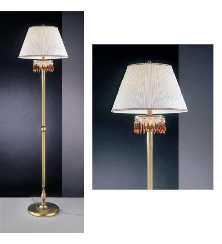 Lampa podłogowa z kremowym abażurem Vasto