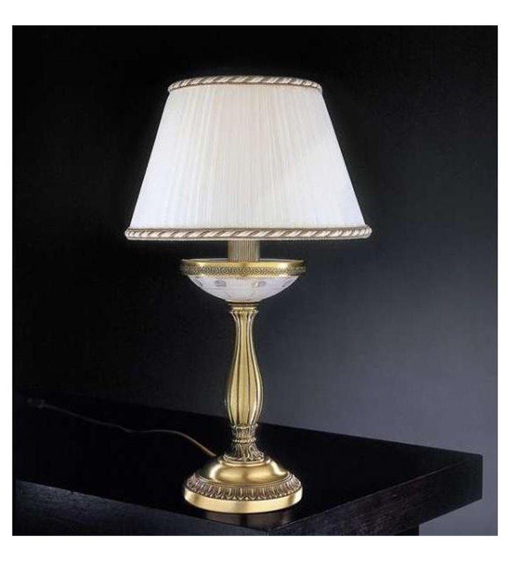 Lampa nocna z kremowym abażurem Corato mosiądz