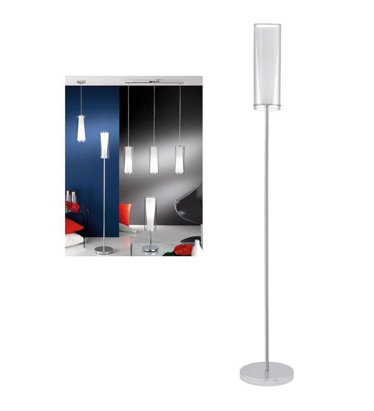 Lampa podłogowa Pinto podstawa chrom klosz podwojny ze szkła prosta wąska