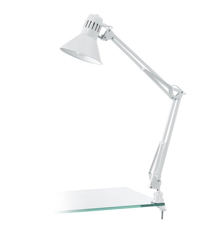 Lampa biurkowa Firmo biała wysoka łamana przykręcana