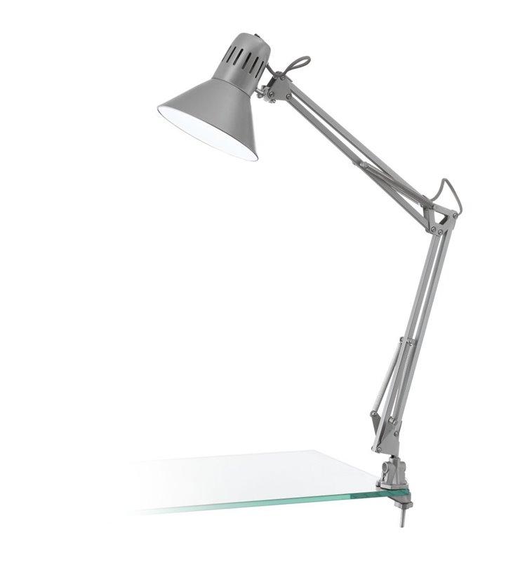 Lampa biurkowa Firmo w kolorze srebrnym przykręcana do blatu włącznik na kloszu