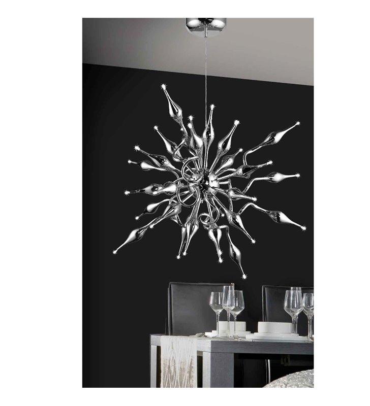 Lampa wisząca Pipes duża nowoczesna w kolorze chrom do wysokiego pomieszczenia