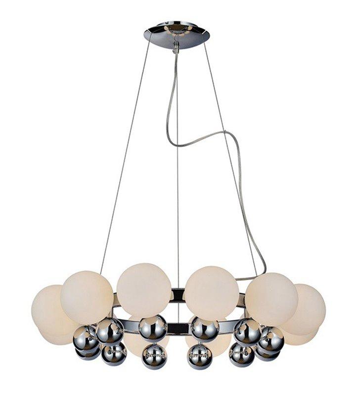 Żyrandol Esperanza chromowana obręcz ze szklanymi białymi kulami do salonu sypialni jadalni nad stół
