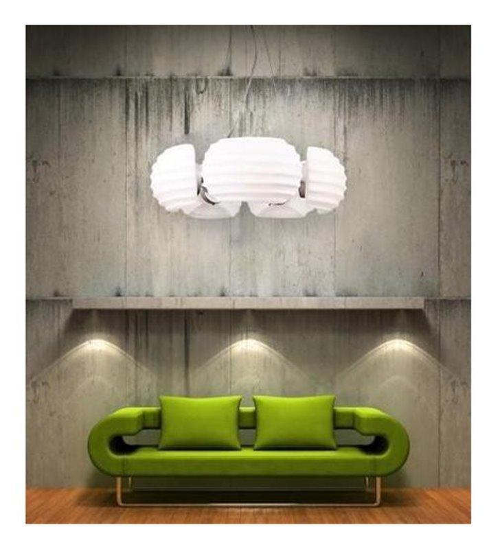 Rondo lampa wisząca biała okrągła nowoczesna do salonu jadalni kuchni sypialni nad stół
