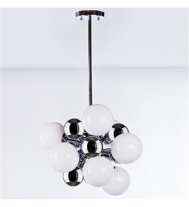 Lampa wisząca Noble nowoczesna designerska białe i chroowane kule