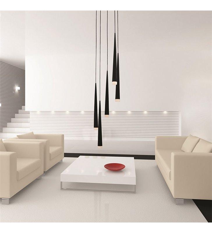 Lampa wisząca Stylo5 5 punktowa czarna spirala klosze wąskie stożki do salonu sypialni nad stół schody