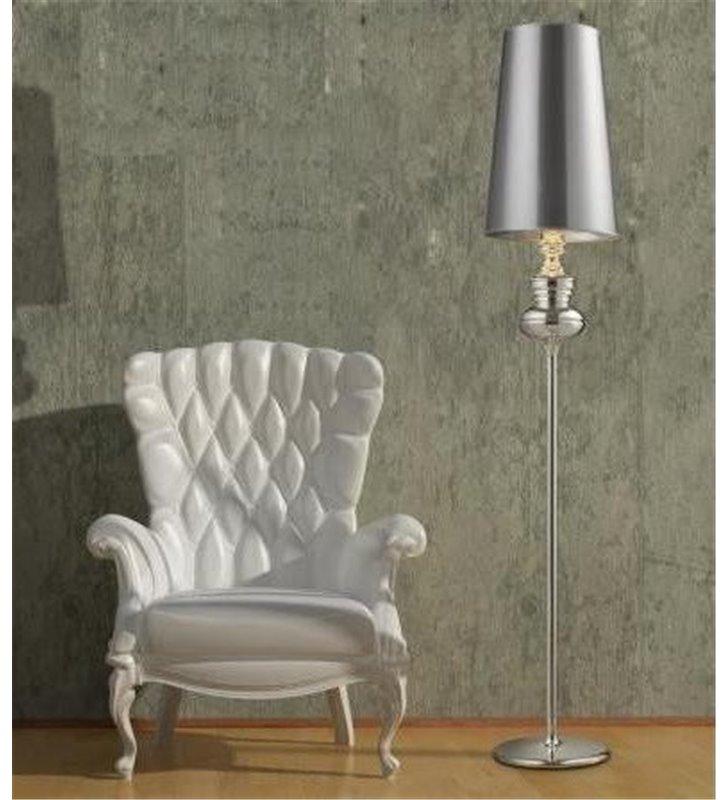 Lampa podłogowa Baroco srebrna designerska w stylu glamour