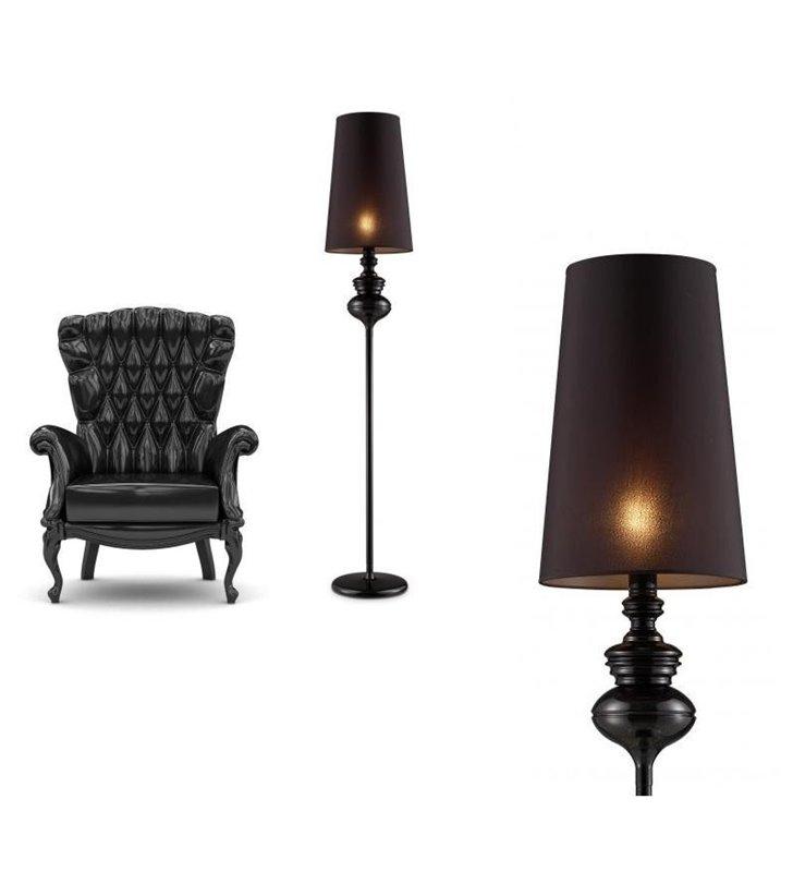Lampa podłogowa Baroco czarna designerska w sylu glamour - DOSTĘPNA OD RĘKI