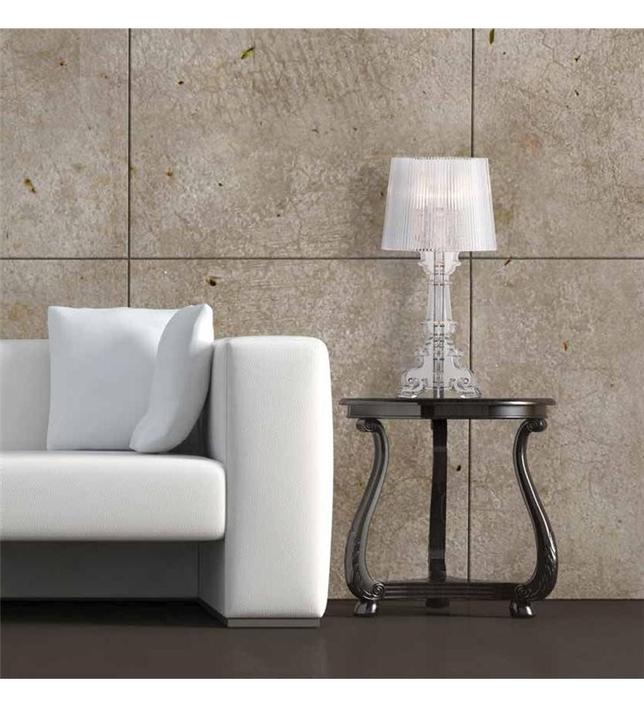 Lampa stołowa Bella transparentna akrylowa w stylu nowoczesnym