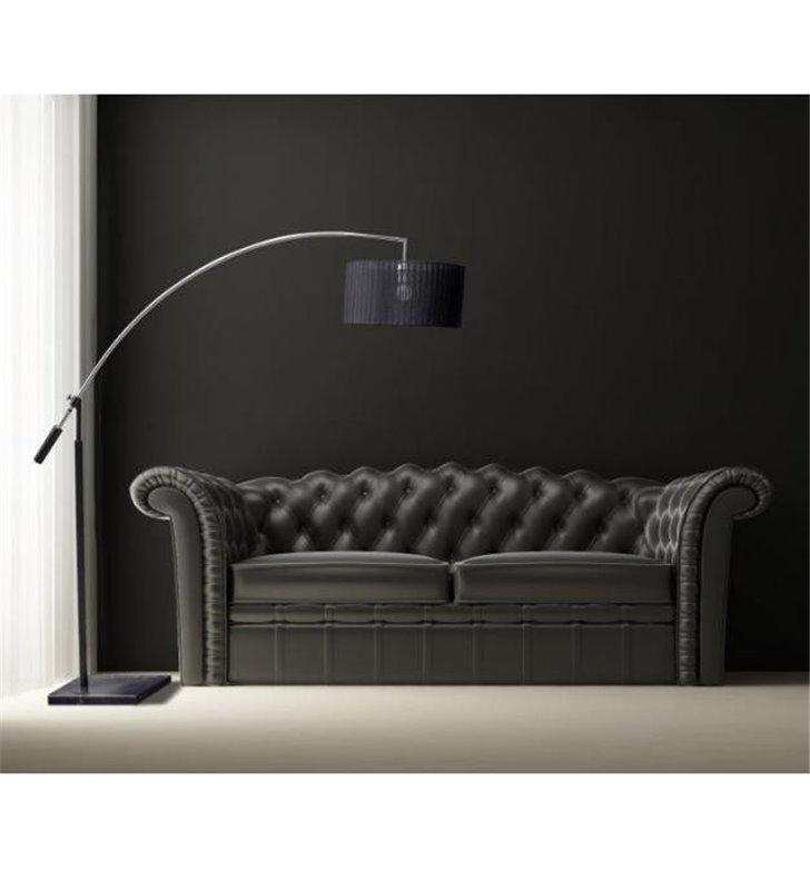 Lampa podłogowa Bianca na wysięgniku czarny abażur  - OD RĘKI