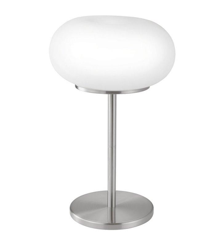 Lampa stołowa Optica podstawa matowy nikiel klosz szklany matowy włącznik na kablu