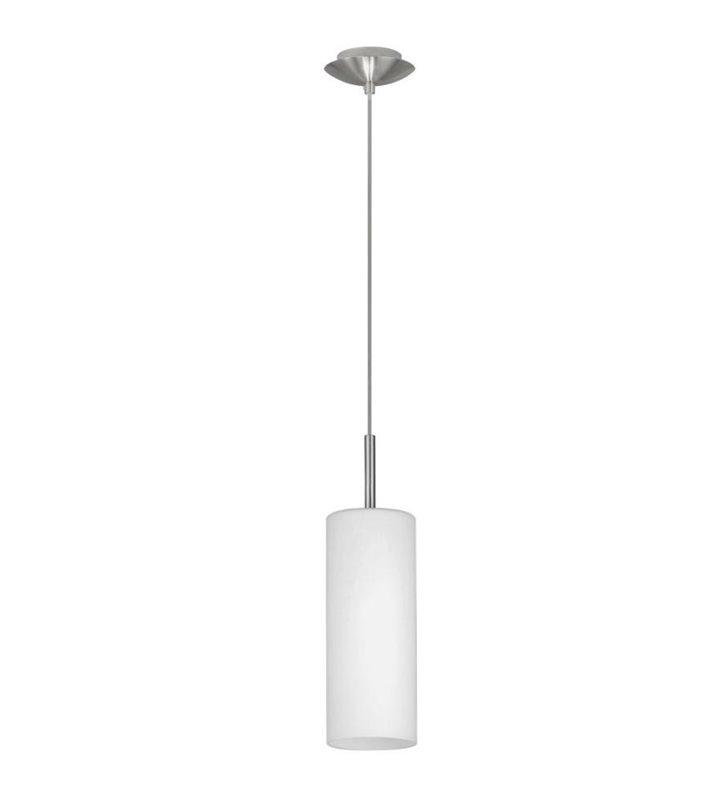 Pojedyncza lampa wisząca Troy3 ze szklanym satynowanym kloszem