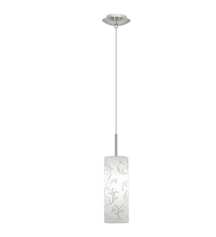 Lampa wisząca Amadora biała z klosz walec z dekorem - DOSTĘPNA OD RĘKI