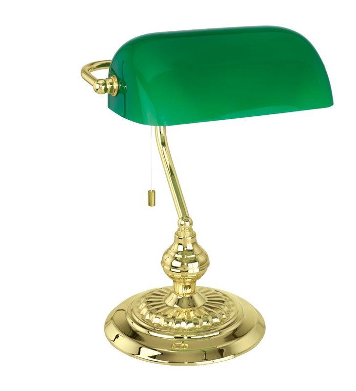 Lampa gabinetowa Banker zielona bankierka podstawa mosiądz