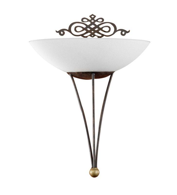 Kinkiet Mestre klasyczny dekoracyjny w kolorze antycznego brązu z beżowym kloszem
