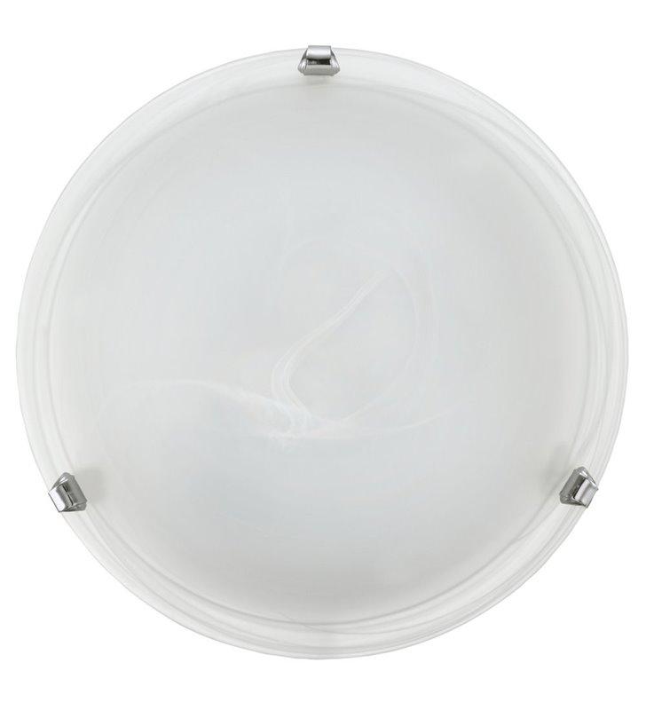 Plafon Salome 30cm białe szkło alabastrowe detale chrom