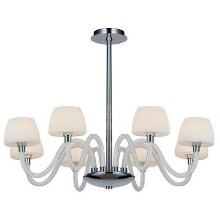 Żyrandol Gloria biały 8 ramienny do sypialni salonu jadalni nad stół sztywne zawieszenie bez łańcucha - OD RĘKI