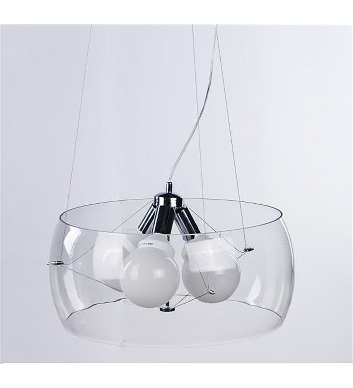 Nowoczesna lampa wisząca Cosmo bezbarwny szklany okrągły klosz 3 żarówki E27 do salonu sypialni kuchni jadalni- OD RĘKI