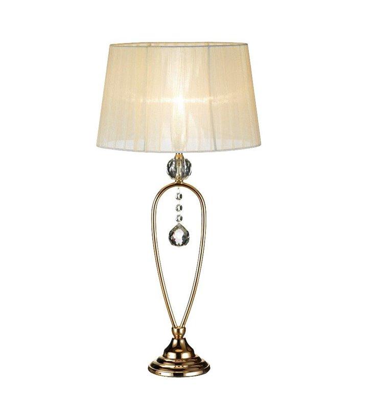 Elegancka stylowa lampa stołowa Christinehof złota beżowy abażur dekoracyjny kryształ