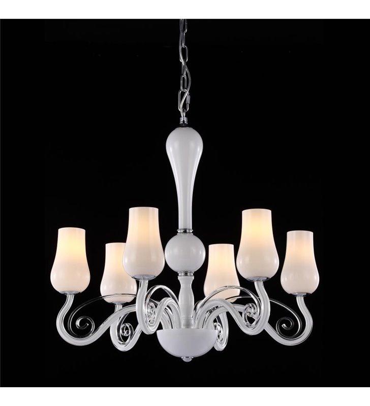 Żyrandol Lybra biały 6 płomienny stylowy elegancki szklany do salonu sypialni jadalni