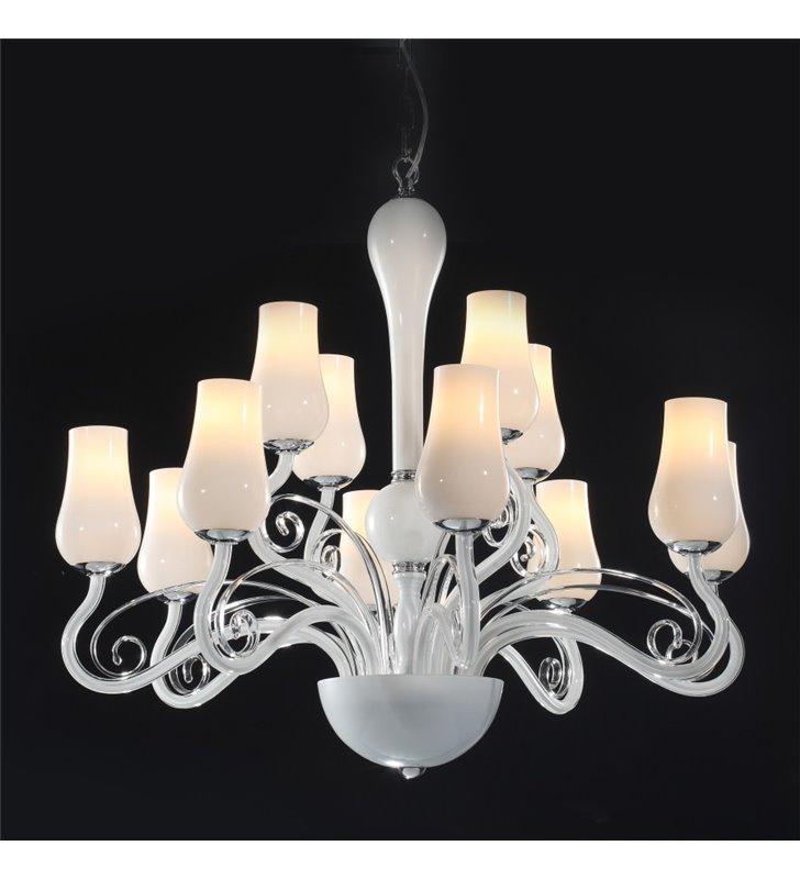 Żyrandol Lybra duży biały szklany 12 punktowy elegancki do salonu jadalni sypialni recepcji restauracji