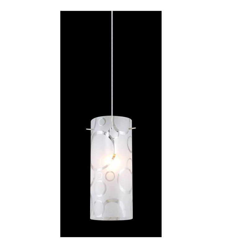 Lampa wisząca Danni pojedyncza klosz szklany dekorowany w koła
