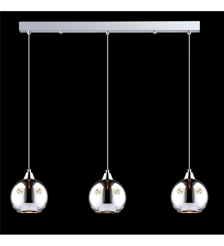 Lampa wisząca Martin potrójna podłużna chromowane kule