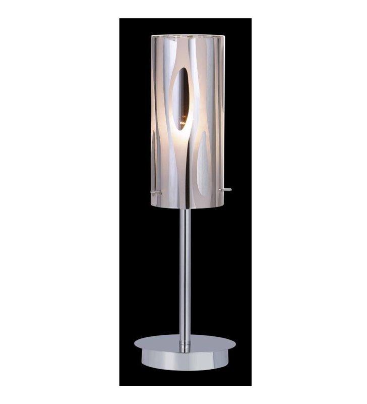 Lampa stołowa Triplet w kolorze chrom ze zdobionym szklanym kloszem