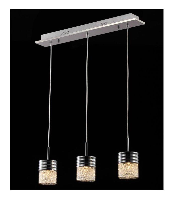 Lampa wisząca Contri potrójna klosze z kryształami