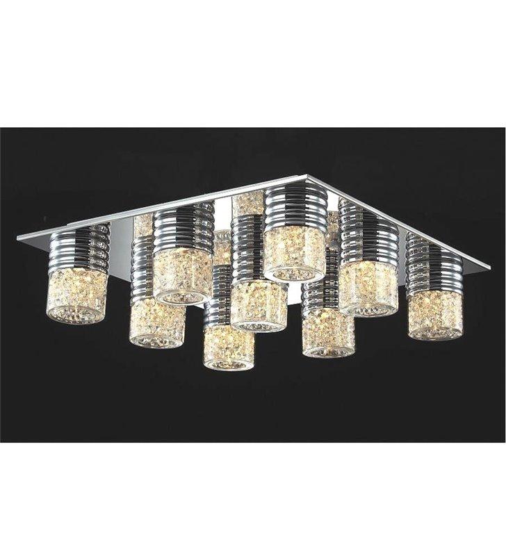 Lampa sufitowa Contri kwadratowa 9 punktowa klosze z kryształami