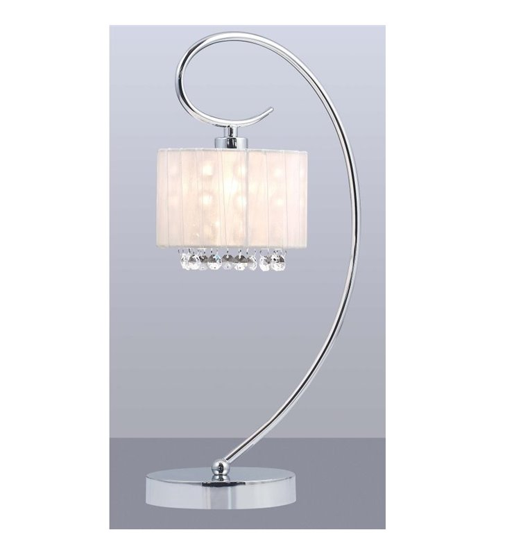 Lampa stołowa Span biały abażur z kryształkami