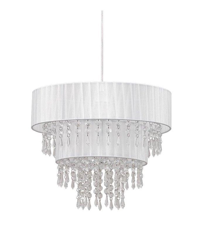 Toscana lampa wisząca biała z akrylowymi kryształkami