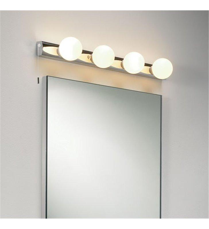 Lampa łazienkowa Cabaret 4 punktowa listwa z 4 okrągłymi kloszami z włącznikiem montaż pionowy lub poziomy oświetlenie toaletki