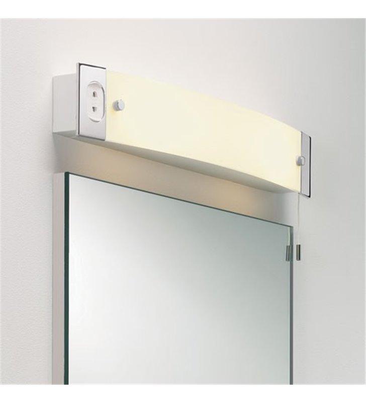 Pozioma lampa łazienkowa nad lustro Shaver Light z gniazdem do golarki szczoteczki do zębów