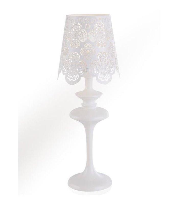 Lampa stołowa Arianna biała klosz jak z koronki