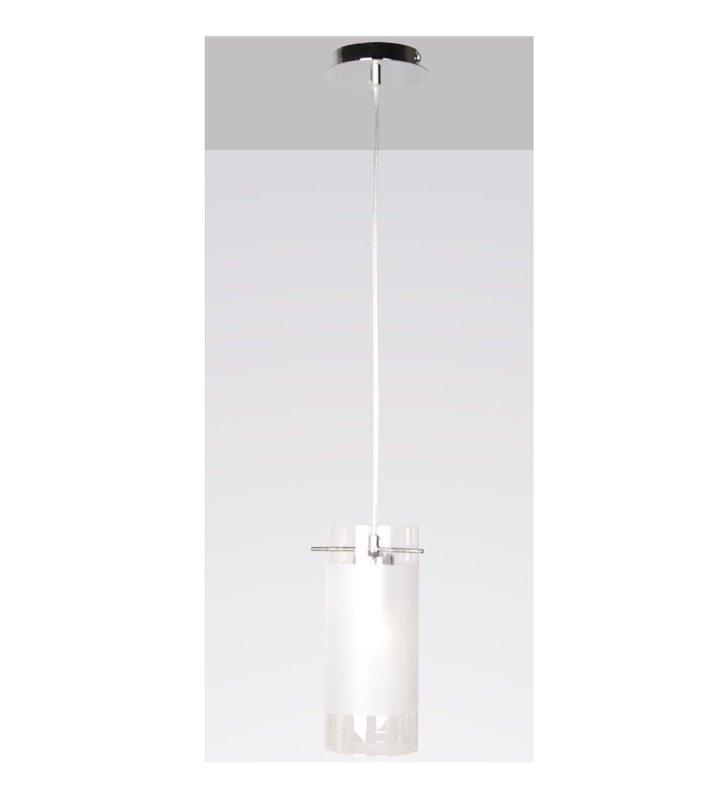 Lampa wisząca Blend pojedyncza podsufitka chromowana klosz szklany walec częściowo satynowany