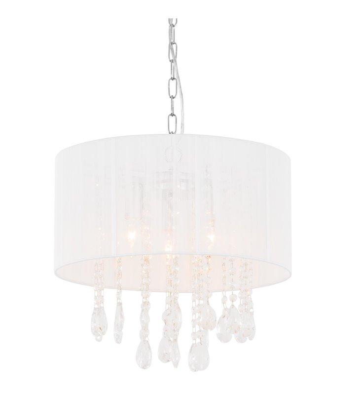 Lampa wisząca Essence biała z abażurem wewnątrz zwisające kryształki
