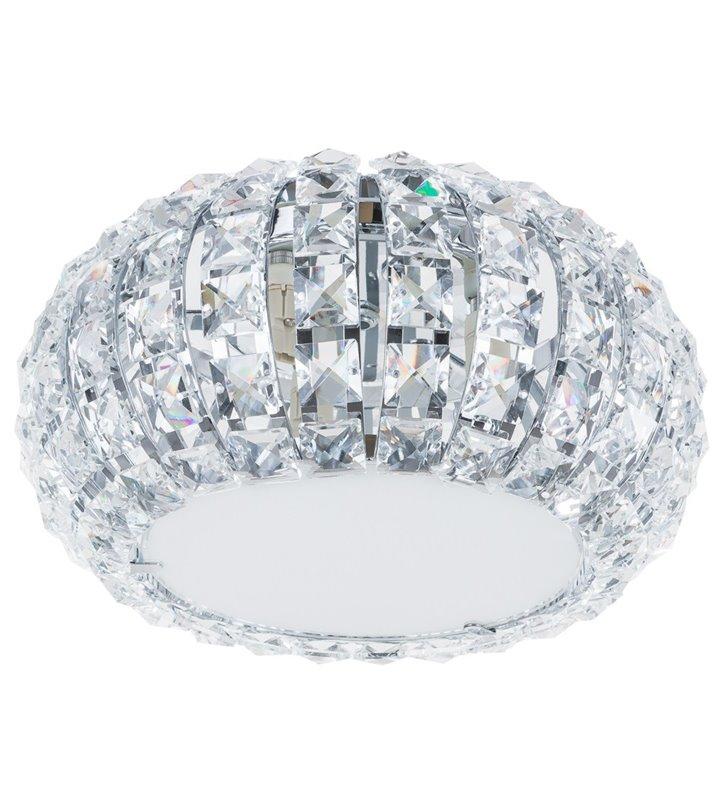 Kryształowy okrągły plafon z kwadratowymi bezbarwnymi kryształkami Monde 270 - OD RĘKI