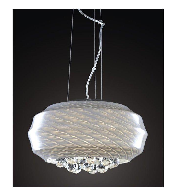 Dekoracyjna lampa wisząca Nero biała z okrągłymi kryształami wewnątrz szklanego klosza do jadalni salonu sypialni
