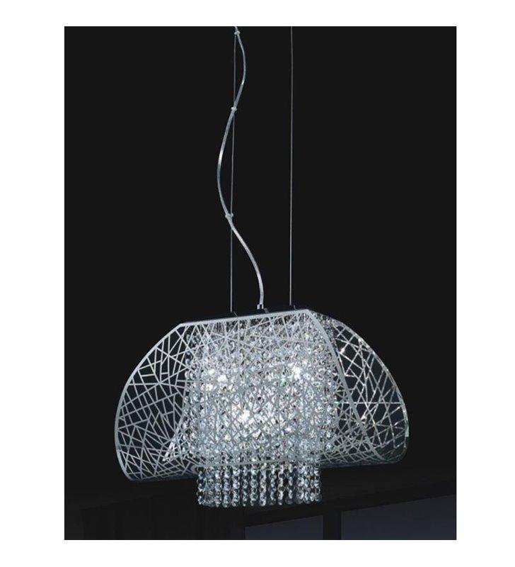 Lampa wisząca Pranza metalowy ażurowy klosz z kryształkami