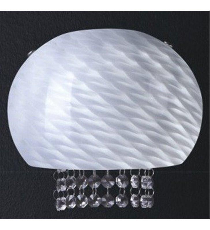 Kinkiet Tigre biały szklany ozdobiony kryształkami