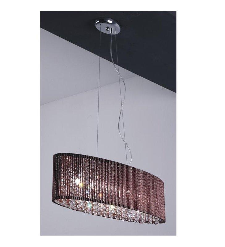 Lampa wisząca Choco brązowa podłużna owalna ozdobiona kryształkami do salonu sypialni kuchni jadalni nad stół