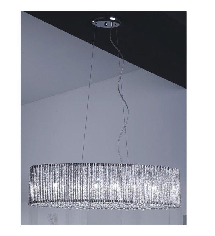 Lampa wisząca Anabella podłużna z kryształkami do jadalni nad stół