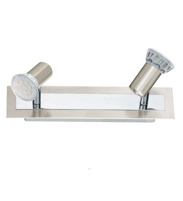 Lampa sufitowa Rottelo podwójna żarówki LED nikiel satyna wykończenie chrom