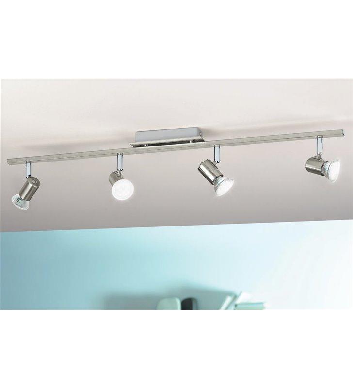 Lampa sufitowa Rottelo długość 78cm 4 żarówki LED nikiel satyna detale chrom