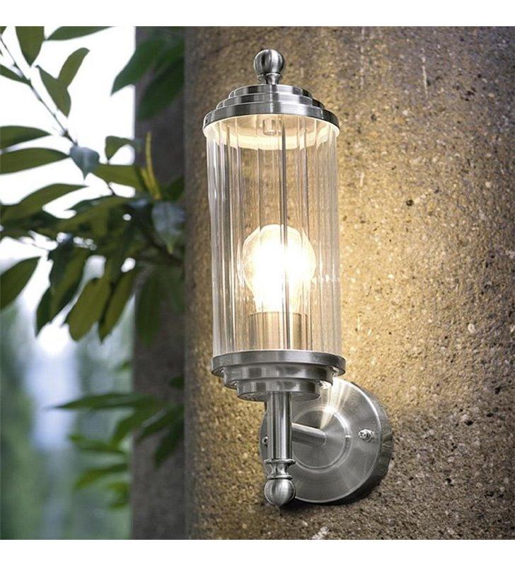 Ścienna lampa ogrodowa Buckingham stal bezbarwny szklany klosz - DOSTĘPNA OD RĘKI