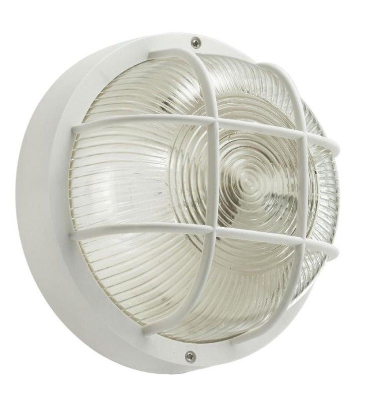 Lampa ogrodowa plafon ścienno sufitowy Anola (10) biały ze szklanym kloszem - DOSTĘPNY OD RĘKI