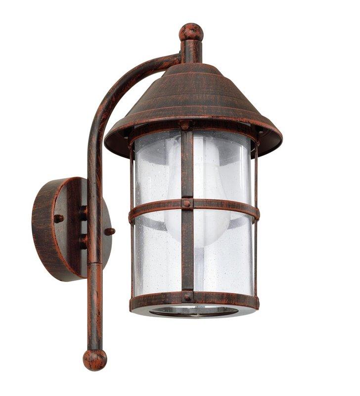 Lampa ścienna ogrodowa San Telmo kolor antyczny brąz szklany klosz typ latarenka