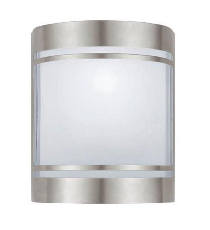 Lampa ogrodowa na ścianę Cerno stal białe szkło dolegająca do ściany